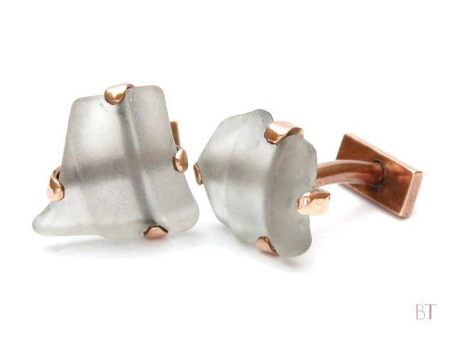 [Sea-Glass Cufflinks] – Bronze, Found Glass