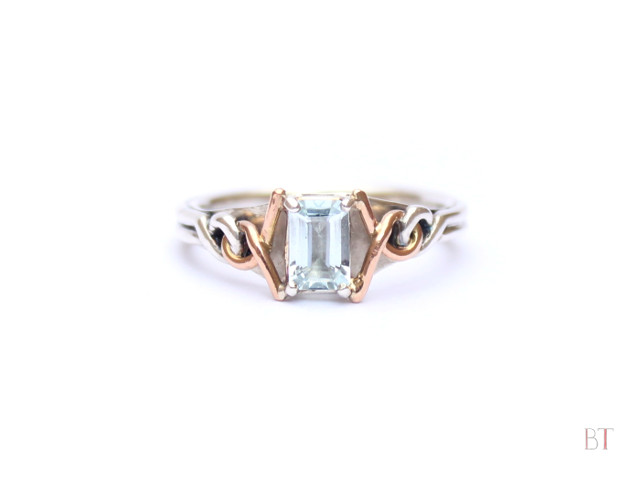 [Engagement Ring] – Sterling Silver, Rose Gold and Aquamarine