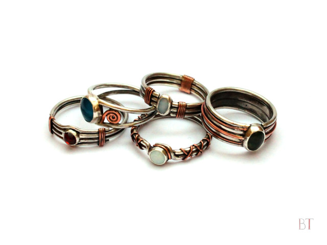 [Copper-wrapped Rings] – Sterling Silver, Copper and Semi-Precious Stones