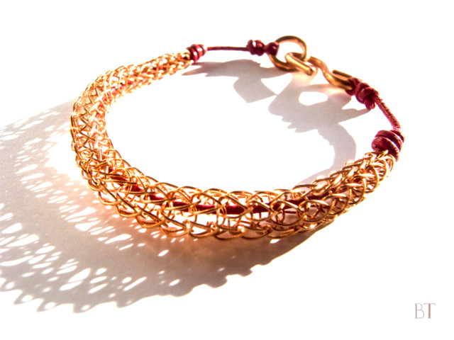 [Viking Knit Bracelet] – Copper, Leather