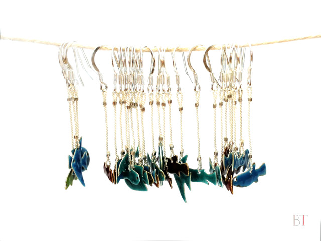 [Fish Earrings] – Fine Silver and Torch-Fired Enamel