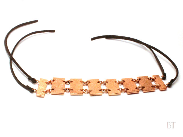 [Linked Bracelet] – Copper, Leather Cord