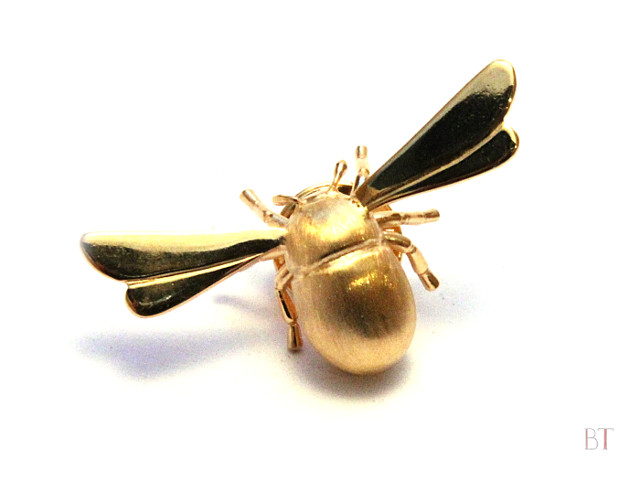 [Bee Lapel Pin] – Sterling Silver, 24 Carat Gold Plate