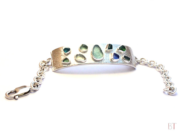 [Sea-glass Bracelet] – Sterling Silver, Sea-glass