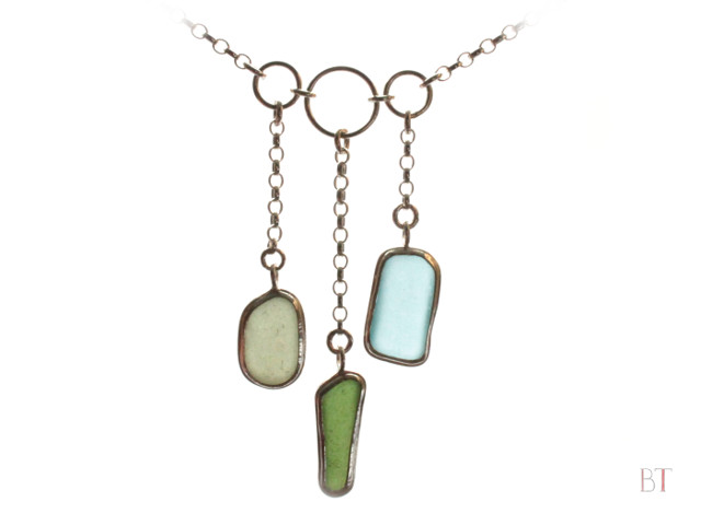 [Trio necklace] – Sterling Silver, Sea-glass
