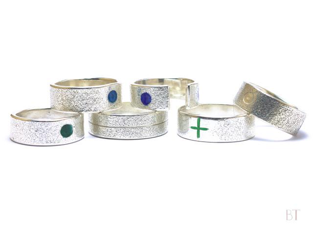 [Textured Rings] – Sterling Silver, Vitreous Enamel
